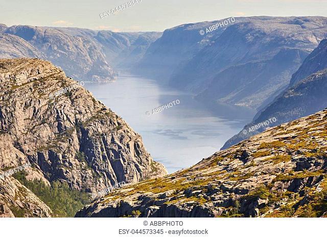 Norwegian fjord landscape. Preikestolen area. Norway landmark landscape. Outdoor