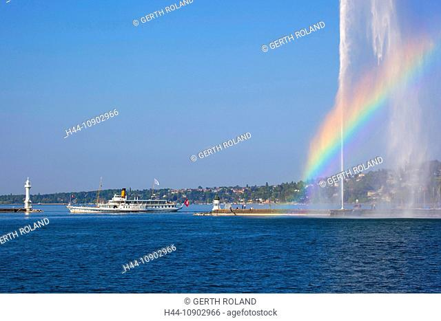 Geneva, Switzerland, Europe, canton Geneva, town, city, harbour, port, entrance, fountain, jet d'eau, Genevan, lake, Leman, rainbow, ship, bicycle steamboat