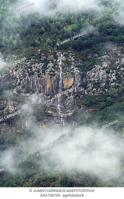 Waterfall in Ordesa National Park. Spain