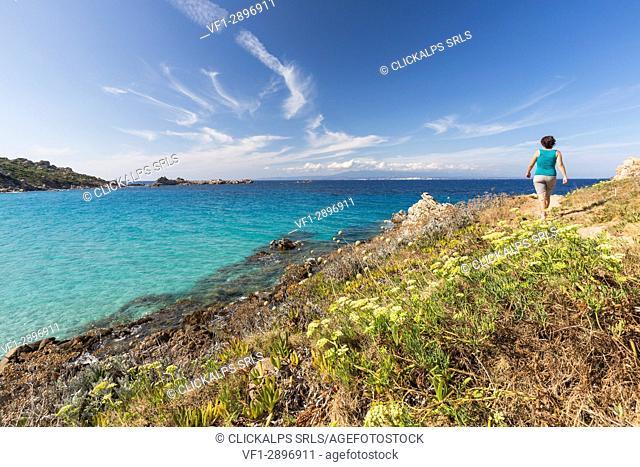 A walk on the path overlooking the turquoise sea Santa Teresa di Gallura Province of Sassari Sardinia Italy Europe