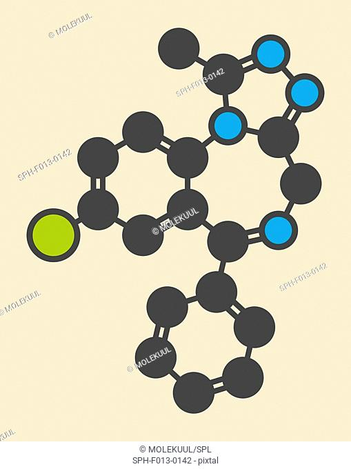 Alprazolam sedative and hypnotic drug (benzodiazepine class) molecule. Stylized skeletal formula (chemical structure). Atoms are shown as color-coded circles:...