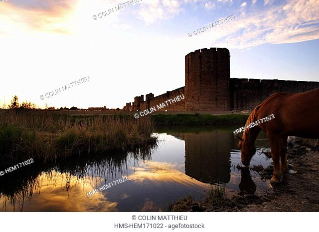 France, Gard, Aigues-Mortes, medieval city, ramparts and fortifications surrounding the city