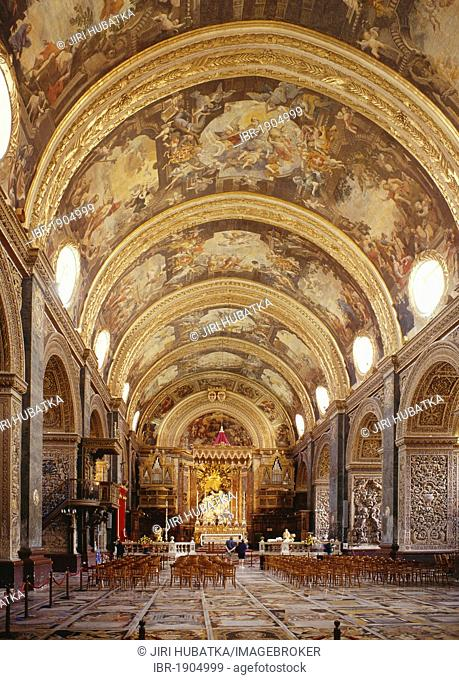 Interior, St. John's Cathedral, La Valletta, Malta, Europe