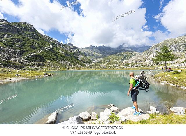Tourist to the lower Cornisello lake