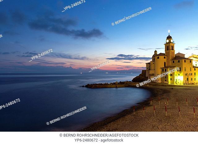 church and beach at night, Camogli, Liguria, Italy