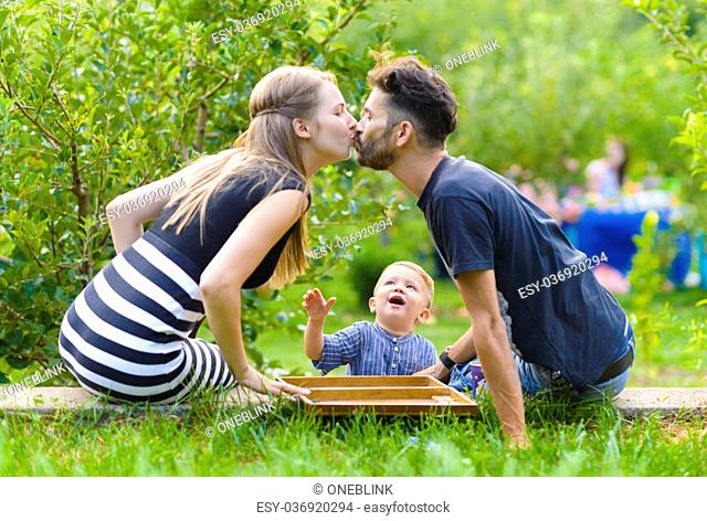 Family spending time at picnic