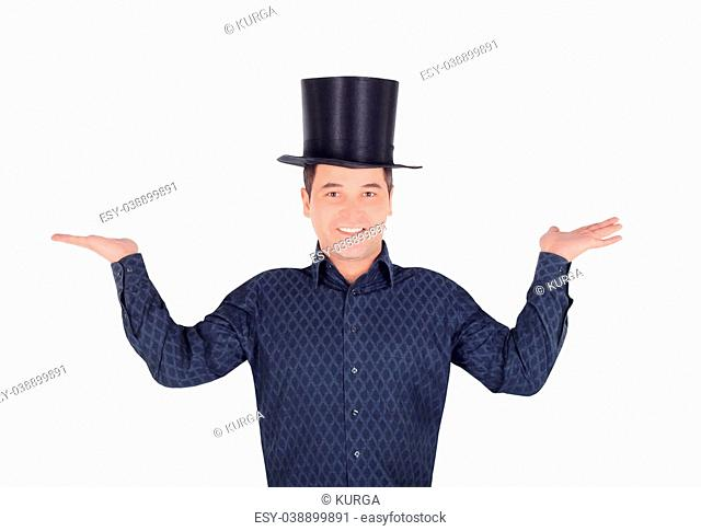 Brightly pictures of cheerful man in top hat cylinder