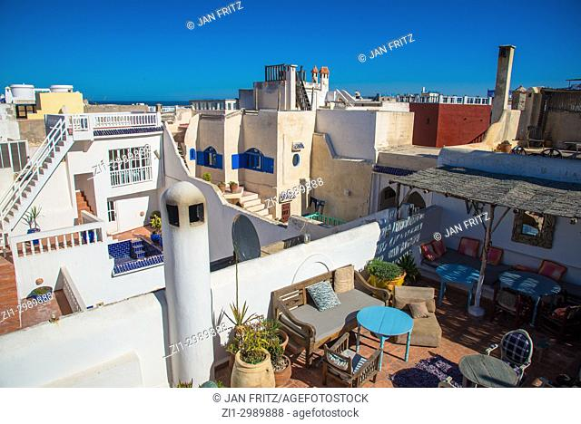view at white houses and rooftops of Essaouira, Maroc