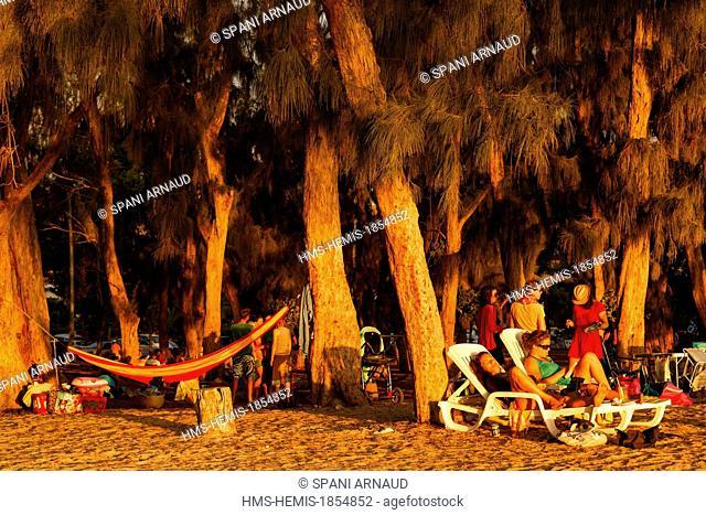 France, Ile de la Reunion (French overseas department), Saint Paul, Hermitage beach and lagoon, families enjoying a Sunday beach under casuarinas