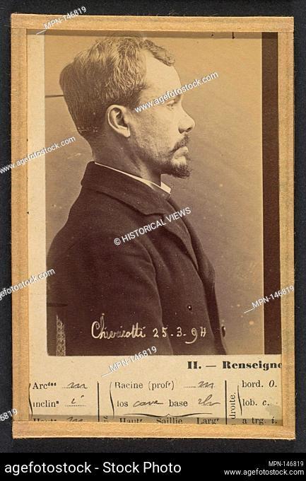 Chericotti. Paul. 35 ans, né à Milan (Italie). Marchand de volailles. Anarchiste/Assoc. de malfaiteurs. 25/3/94. Artist: Alphonse Bertillon (French