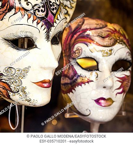 Venice, Italy. Detail of an original and traditional venetian mask