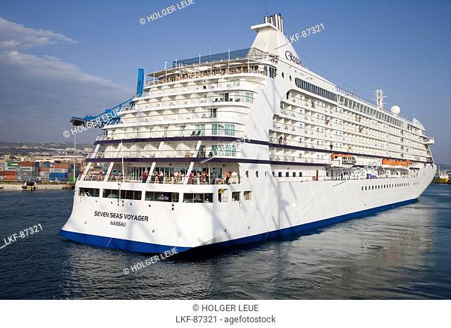 Cruiseship Seven Seas Voyager, Port of Civitavecchia, near Rome, Lazio, Italy