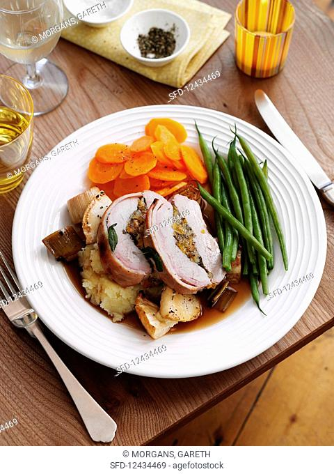 Pork roast with vegetables and potatoes