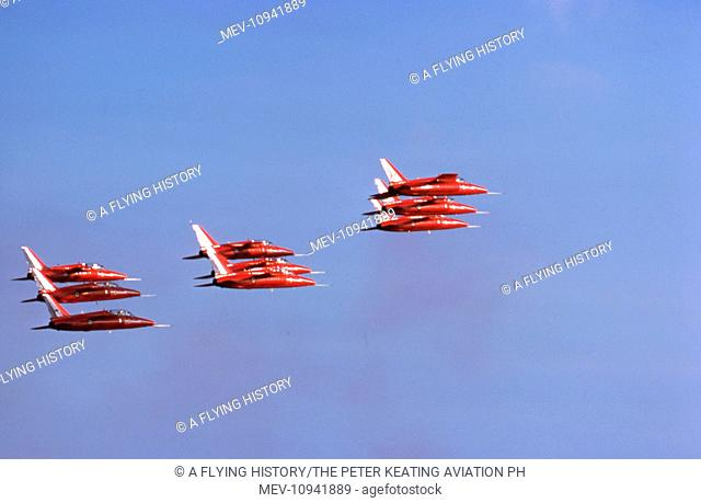 RAFAT RAF aerobatic display team. the Red Arrows, in tight formation at Farnborough Air Show in September 1978