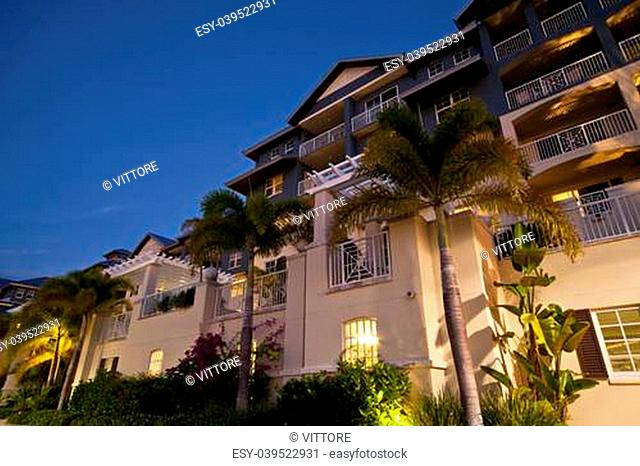 Tropical Resort Dramatic Night View with Palms
