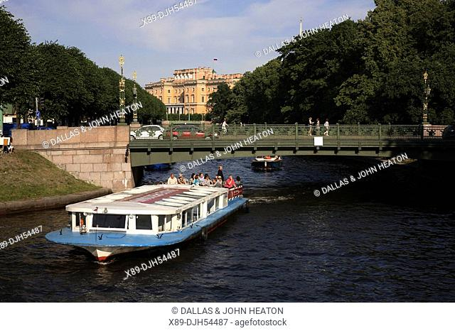 Russia, St Petersburg, Moyka River, Tourist Boat