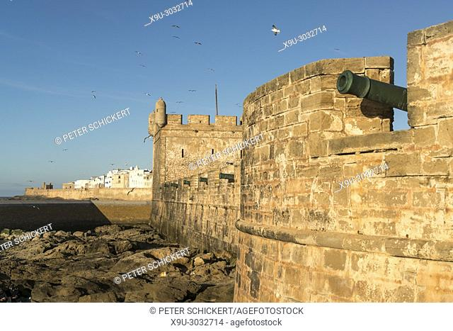 harbour tower Scala du Port on the coast in Essaouira, Kingdom of Morocco, Africa