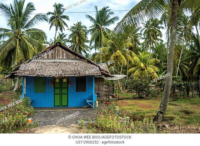 Scenery of Chinese house along Singkawang-Aruk road, West Kalimantan, Indonesia