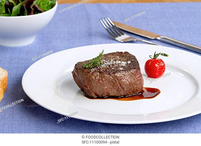 A fried fillet steak