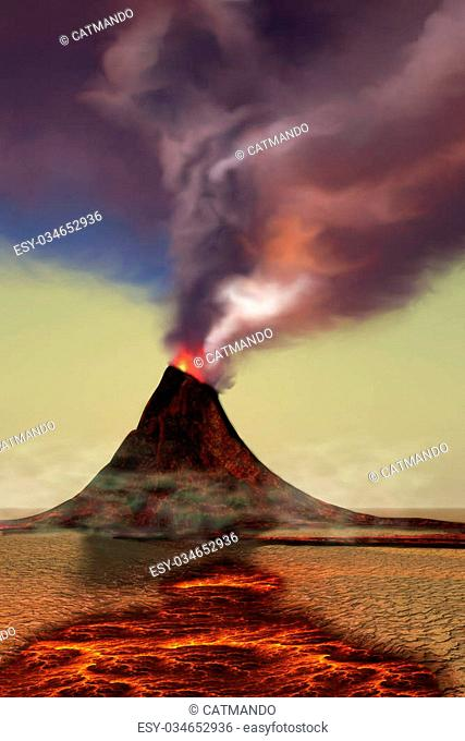 A newly formed volcano smokes with hot steam as hot lava flows around it