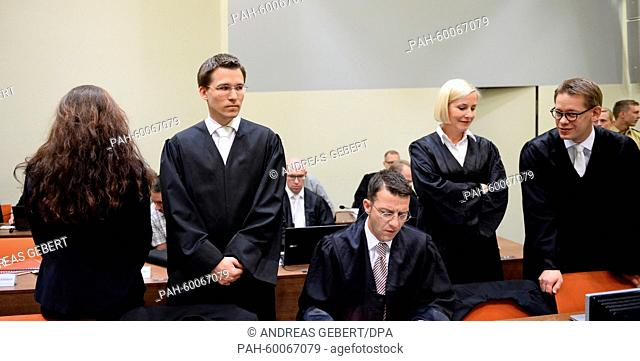 Defendant Beate Zschaepe (L) and her lawyers Mathias Grasel (L-R), Wolfgang Stahl, Anja Sturm and Wolfgang Heer wait for the start of the continuation of the...