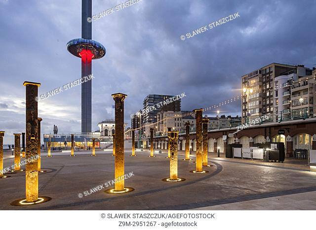 Evening at i360 Tower in Brighton, East Sussex, England