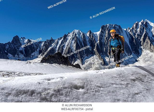 France, Chamonix, Argentiere Glacier, Les Droites, Les Courtes, Aiguille Verte, mountaineer