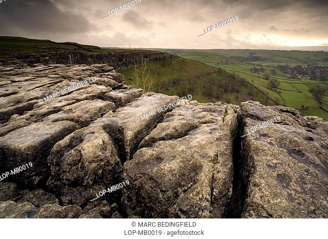 England, North Yorkshire, Malham Pavement, Limestone pavement at the top of Malham Cove. It was formed by meltwater after the last ice age and the area is...