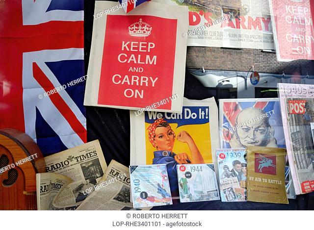 England, London, Soho. British World War II memorabilia in a shop window