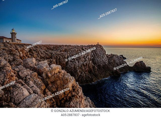 Sunset in Punta Nati Lighthouse. Ciutadella de Menorca Municipality. Minorca Island. Balearic Islands. Spain