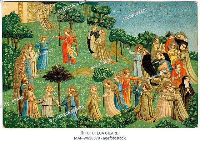 PARADISO dettaglio dal dipinto su tavola di Beato Angelico e aiuti 'Giudizio Finale' (1446 circa). Stampa facsimile in cromolitografia per cartolina postale