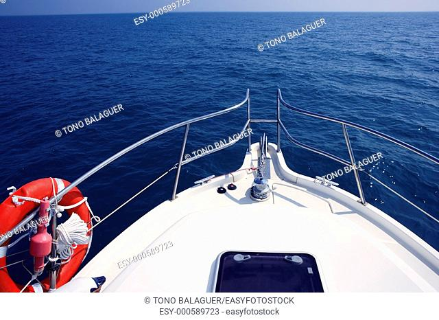 blue ocean sea view from motorboat yacht bow in Mediterranean
