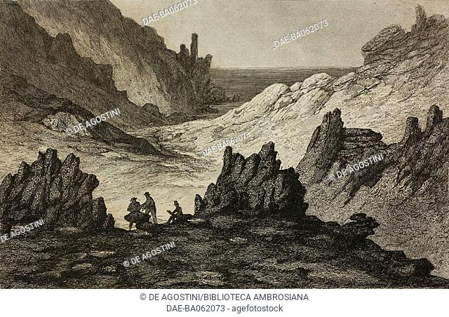 Lava gorges and ash mountain, Ascension Island, engraving by Lemaitre from Iles de l'Afrique, by D'Avezac, L'Univers pittoresque