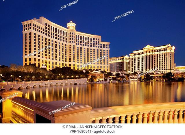 The Bellagio Hotel and Casino at twilight, Las Vegas Nevada, USA