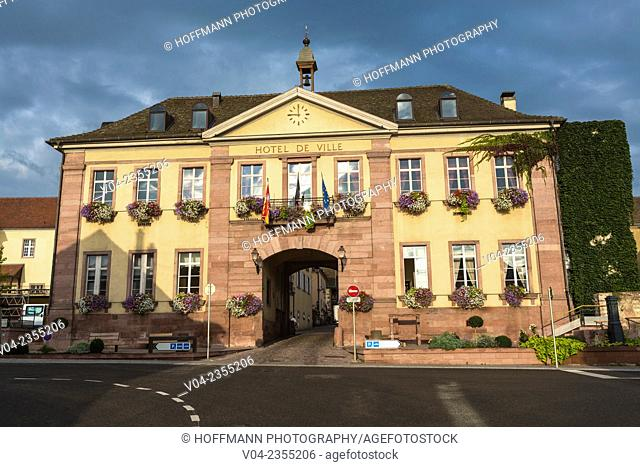 The picturesque town hall in Riquewihr, Alsace, France, Europe