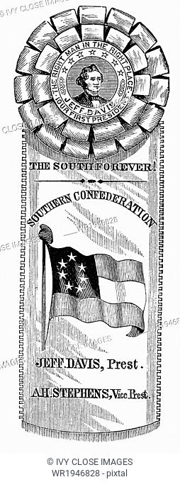 In 1860, prior to the start of the American Civil War (1861-1865), many pro-secessionists wore the secession rosette and badge