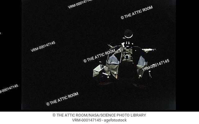 View of the Lunar Module from the Command Module as the pair of spacecraft rendezvous in lunar orbit. Date recorded: 1971-02-06