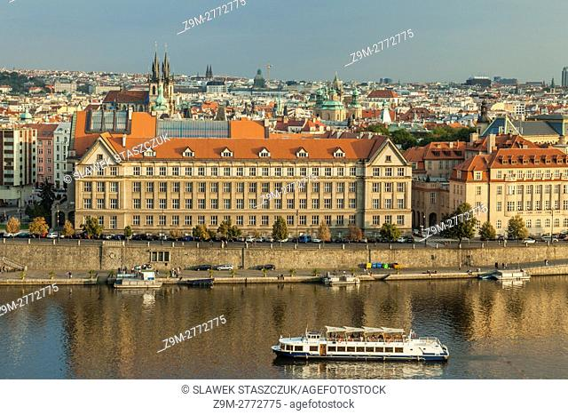 Autumn afternoon on Vltava river in Prague, Czech Republic