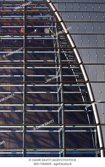 Titanium and glass detail of the National Centre for the Performing Arts, designed by Paul Andreu in Beijing, China