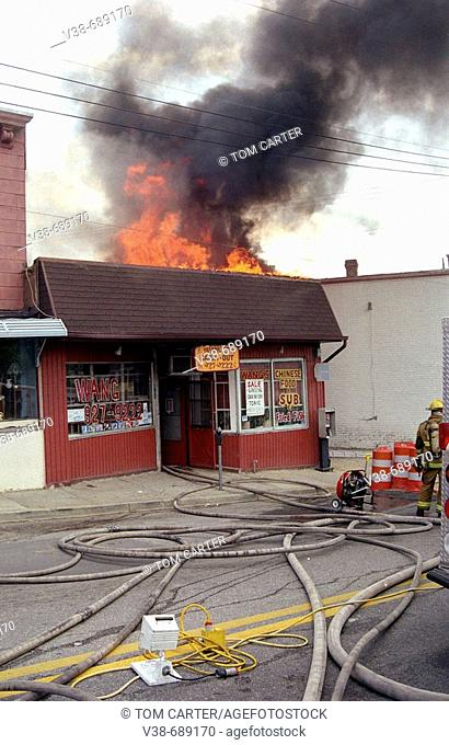 3 alarm fire at a Chinese restaurant in Mt Ranier, Maryland, USA