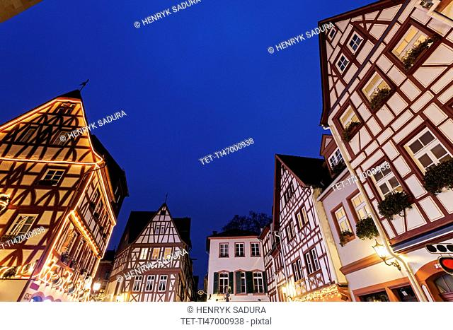 Illuminated half-timbered houses