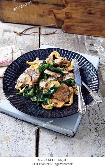 Seared pork fillet with spelt egg noodles and mushrooms