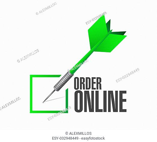 Order online check dart sign concept illustration design graphic
