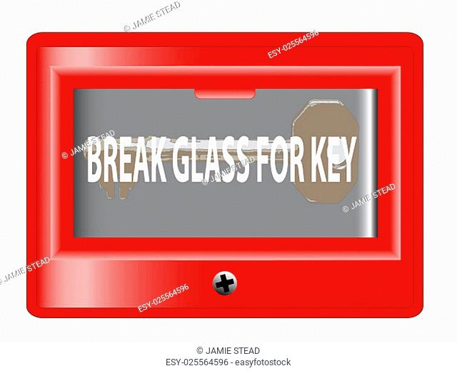 A 'break glass for key' emergency box over a white background