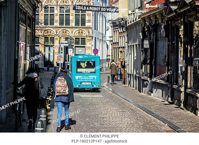 Keolis walking bus / Wandelbus, electric People Mover riding in the pedestrianised area in the historic city centre of Ghent, East Flanders, Belgium