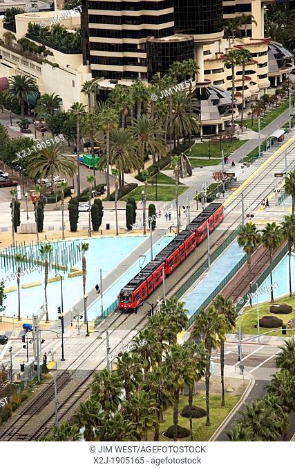 San Diego, California - The San Diego Trolley runs through the city's downtown