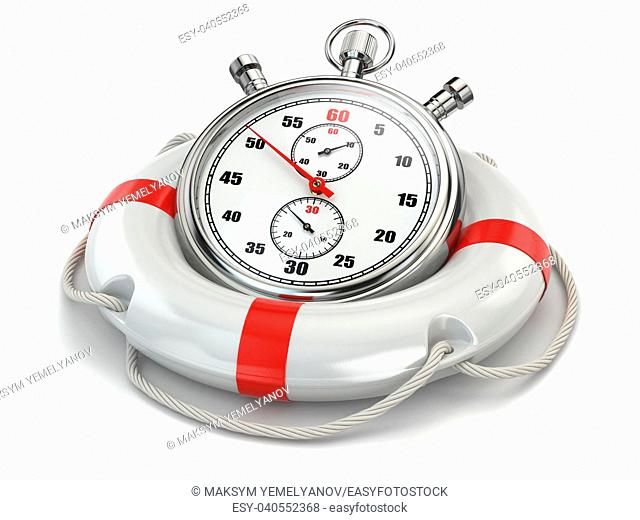 Fast first help. Stopwatch in lifebuoy on white isolated background. 3d