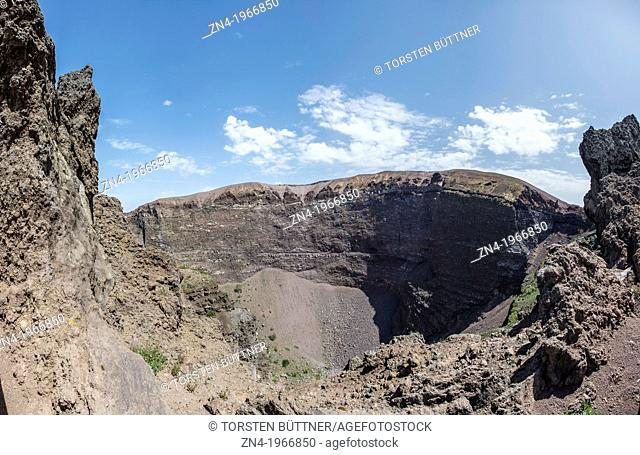 Crater of Mount Vesuvius in Mount Vesuvius National Park, Campania, Italy