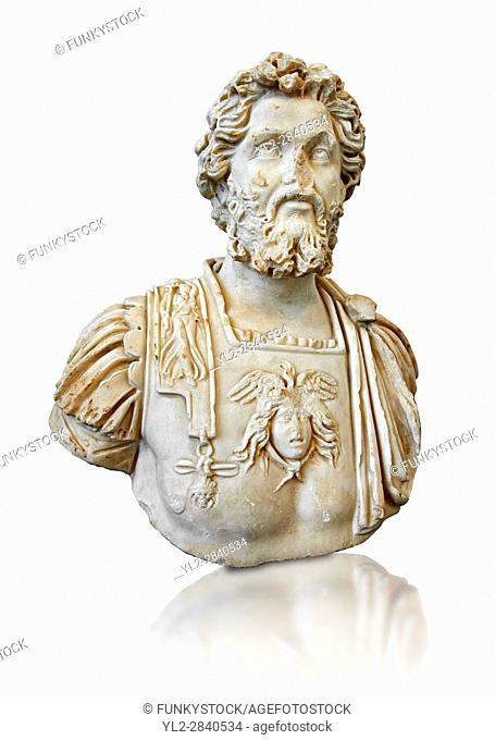 Roman sculpture bust of Septimius Severus made between 196 and 197 AD and excavated from Ostia. The National Roman Museum, Rome, Italy