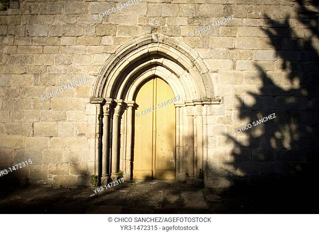 The main door of the San Salvador Romanesque church in Sarria town, Leon province, Galicia region, located in the French Way of the Way of Saint James, Spain